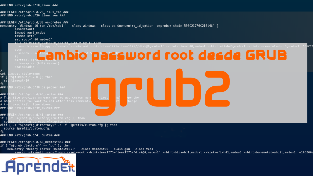 Cambiar password de root desde GRUB